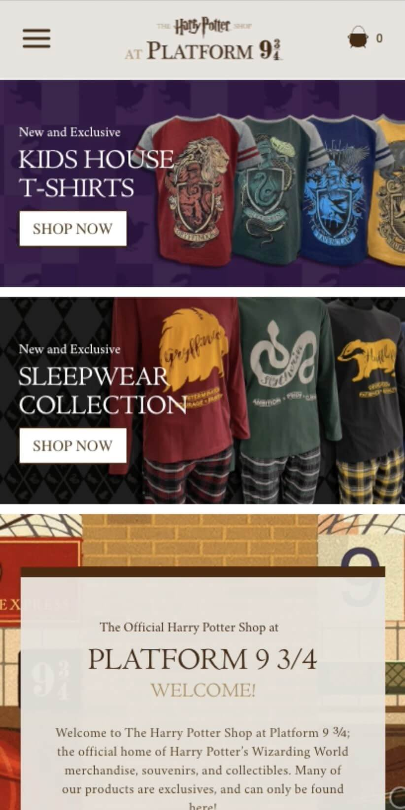 harry potter mobile homepage