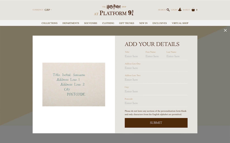 harry potter platform 9 3/4 shop - hogwarts acceptance letter