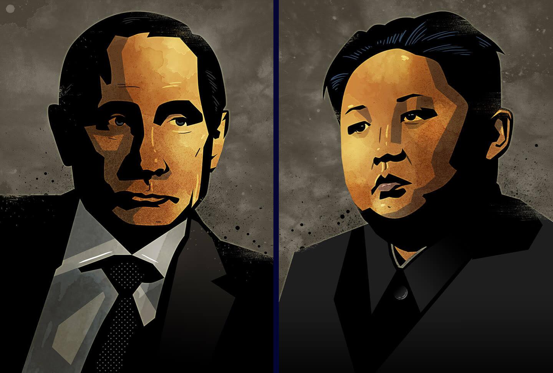 vladimir putin Kim Jong-Un illustrations
