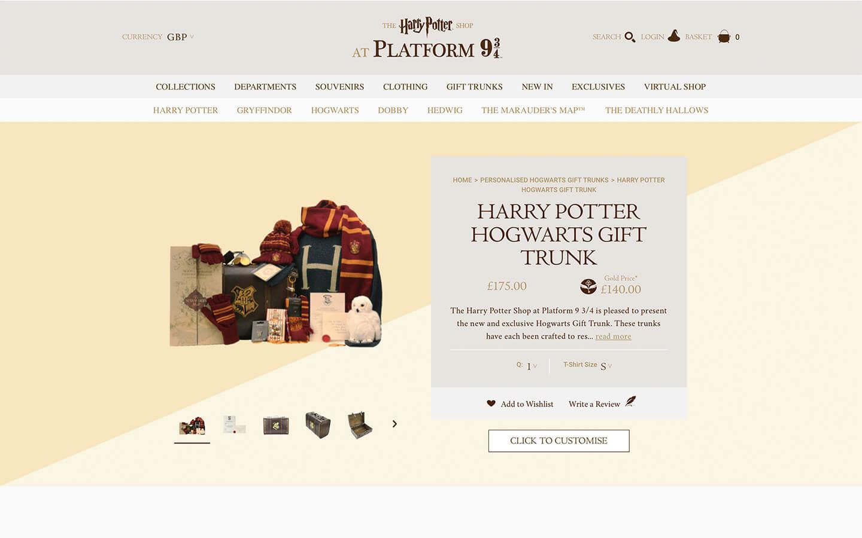 harry potter platform 9 3/4 shop - hogwarts gift trunk